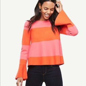 Ann Taylor Striped Flare Cuff Sweater